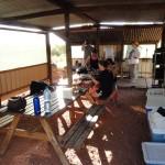 Preparing dinner in the shelter