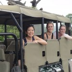 Kat, Hannah and Shammy in our game drive vehicle