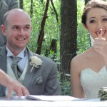Matt and Lita adding their fingerprints to the marriage documents