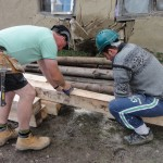 Richard and Ady prepare the joists