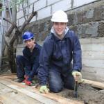 AJ and I constructing a wooden platform