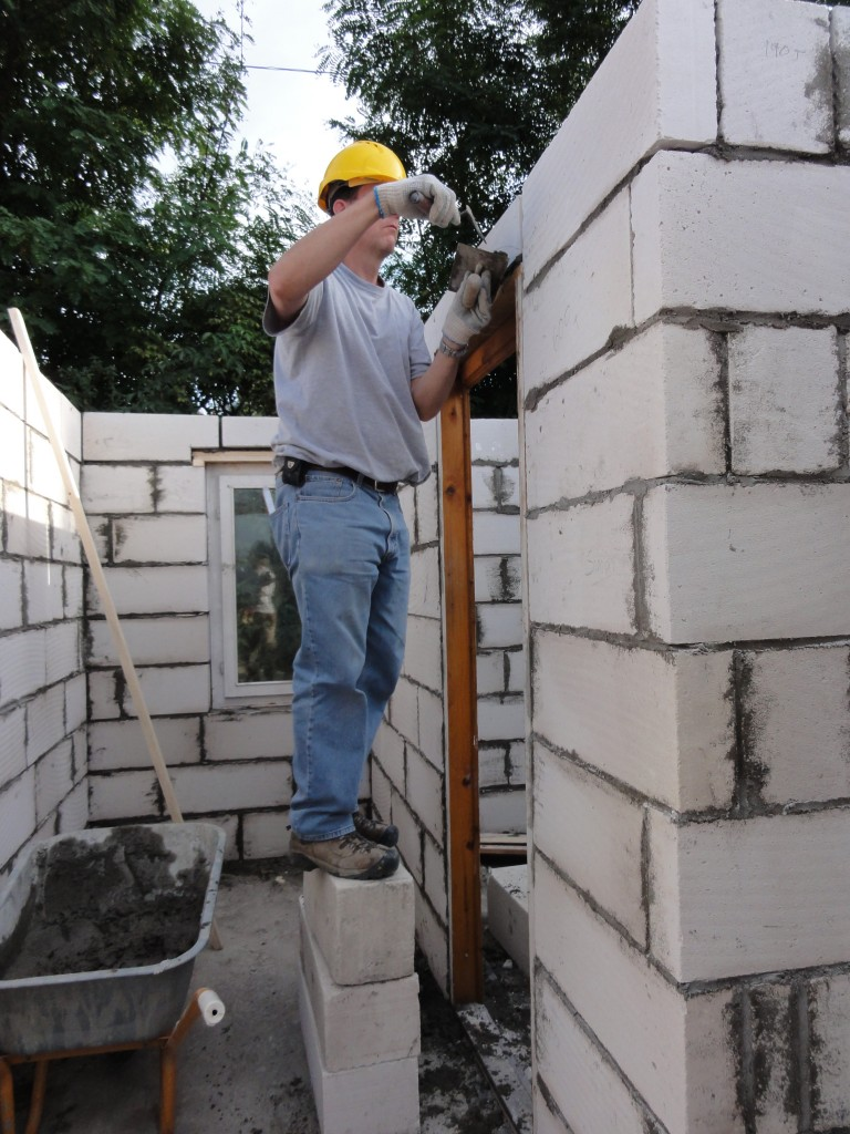 Rob pointing the final block in the second house
