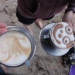 Hot drinks on the beach
